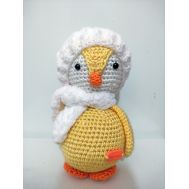 ​Knitted doll yellow penguin with scarf (16 cm)