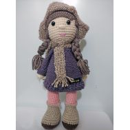 Knitted girl with scarf (21 cm)