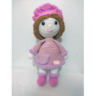 Knitted pink doll (21cm)