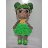 Knitted pretty girls with green dress (30 cm)