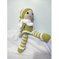 Knitted striped doll with hat (27 cm)