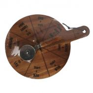 Cookware & tableware, Wooden round Pizza board with a pizza slicer