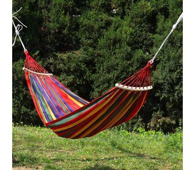 ერთადგილიანი ტილოს ჰამაკი ხის საკიდით 190*80 cm 80-90kg