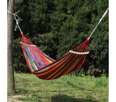 ორადგილიანი ტილოს ჰამაკი ხის საკიდით 190*150 cm 150kg